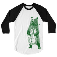 Musical Bear Playing Cello T Shirt, Instrument Band Baseball Tee, Funny Forest Animal Tshirt, 3/4 Sleeve Raglan, Adult, Kids, Baby One Piece