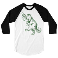 Dancing Dinosaur One Piece or T Shirt, Funny Tshirt, Triceratops Baseball Tee, Prehistoric Jurassic, 3/4 Sleeve Raglan, Adult, Kids, Baby