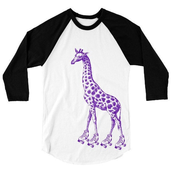 Roller Derby Skating Giraffe T Shirt, Baseball Tee, African Safari Animal Tshirt, 3/4 Sleeve Raglan, Adult, Kids, Baby One Piece