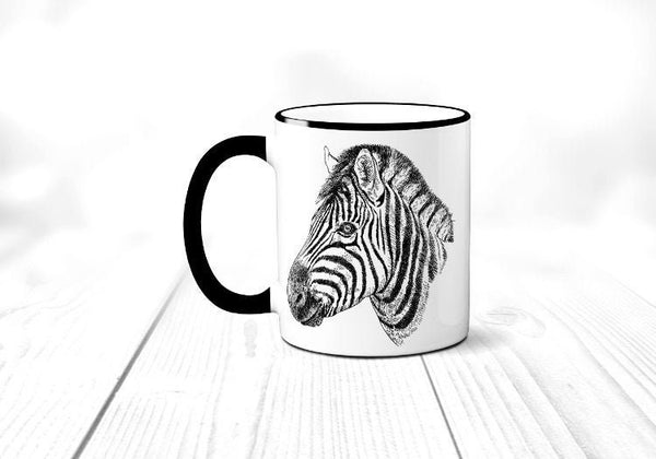 Zebra Mug, African Animal, Safari, Zebra Coffee Cup, Sublimated 11 oz Colored Handle & Rim