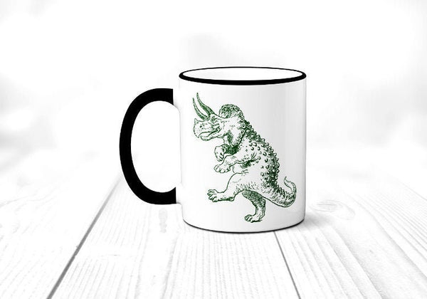 Dancing Triceratops Coffee Mug, Funny Dinosaur Mug, Coffee Cup, Sublimated 11 oz Colored Handle & Rim