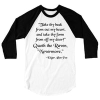 Edgar Allan Poe One Piece or T Shirt, Horror Raven Tshirt, Nevermore Poem Poetry Baseball Tee, 3/4 Sleeve Raglan, Adult, Kids Baby