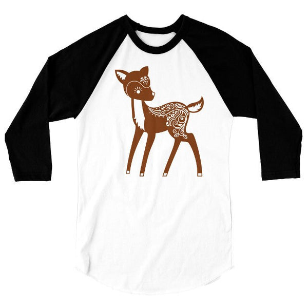 Whimsical Deer T Shirt, Forest Animal Tshirt, Cute Woodland Critter Baseball Tee, 3/4 Sleeve Raglan, Adult, Kids Baby One Piece