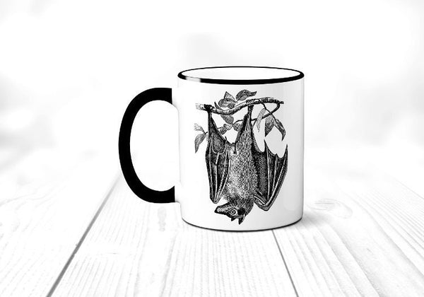 Giant Fruit Bat Mug, Flying Fox Bat Coffee Mug, Halloween Coffee Cup, Horror, Sublimated 11 oz, Colored Handle & Rim