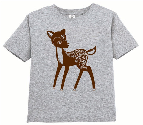 Kids Shirt, Whimsical Deer Tshirt, Forest Animal T Shirt, Woodland Critter Tee, Youth & Toddler