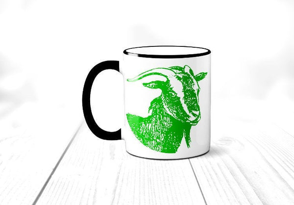 Goat Coffee Mug, Funny Farm Animal Coffee Cup, Gift for Farmer, Sublimated 11 oz, Colored Handle & Rim