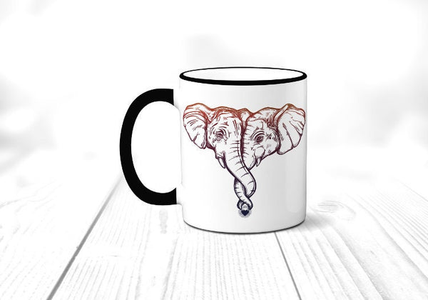 Hugging Elephant Mug, African Safari Animal Coffee Cup, Sublimated 11 oz, Colored Handle & Rim