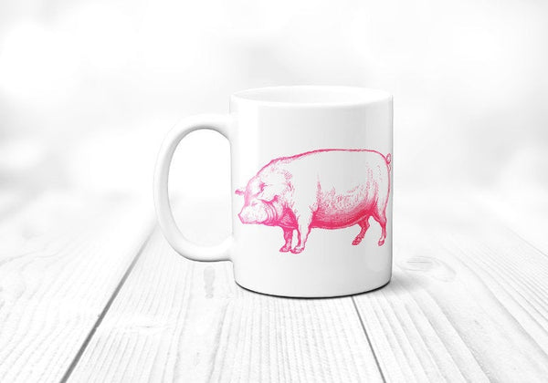 Pig Mug, Farm Animal, Pig Coffee Cup, Gift for Farmer, Farming, Sublimated 11 oz, Colored Handle & Rim