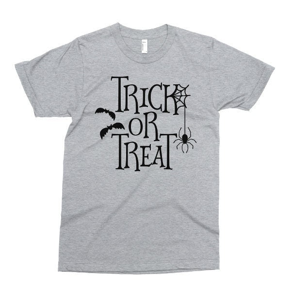 Trick Or Treat Tshirt, Halloween T Shirt, Funny Halloween Tee, Printed On American Apparel, Mens Womens Kids Baby