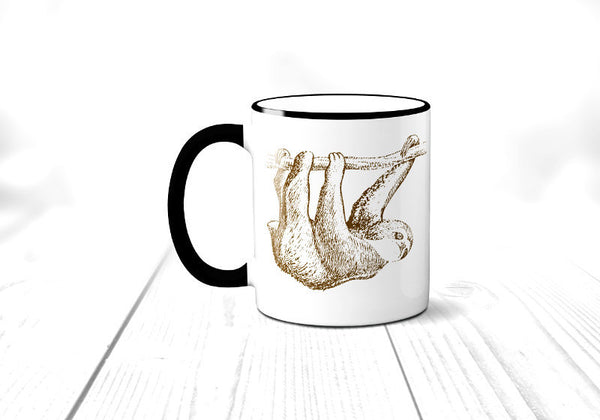 Sloth Coffee Mug, Vintage Illustration Sloth Mug, Rain forest Animal, Sublimated 11 oz, Colored Handle & Rim