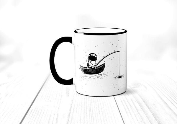 Fishing Astronaut Coffee Mug, Wanderlust Coffee Cup, Space. Milky Way Galaxy, Stars, Funny, Sublimated 11 oz, Colored Handle & Rim