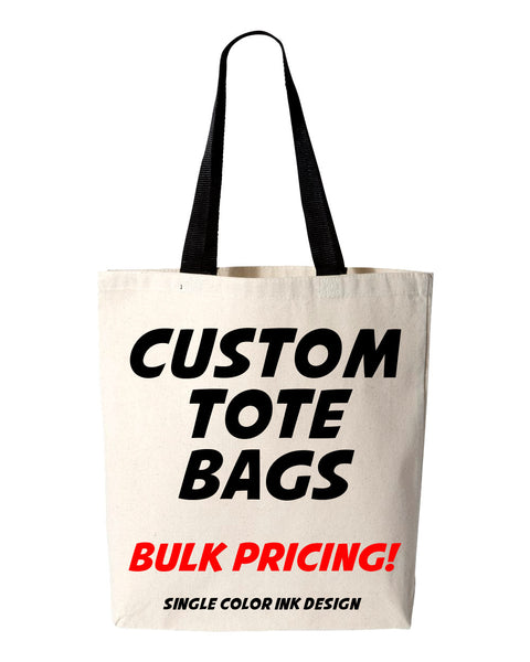 Custom Tote Bags, Bulk Tote Bags, Wholesale Totes, Custom Wedding Totes, Bridal, Event, 6 oz Lightweight Promotional, Cotton Canvas Book Bag