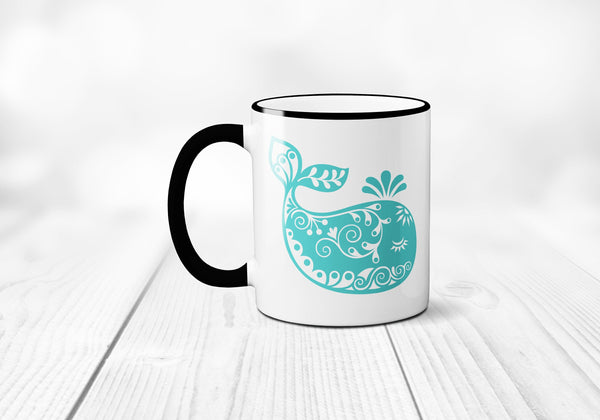 Whimsial Whale Coffee Mug, Nautical Coffee Mug, Cute Whale Coffee Cup, Whale Mug, Sublimated 11 oz Colored Handle & Rim