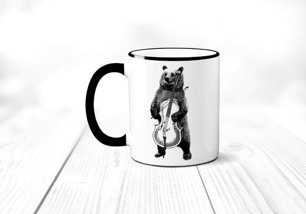 Musical Bear Coffee Mug, Forest Animal, Funny Bear Playing Cello Coffee Cup, Band Instrument, Sublimated 11 oz Colored Handle & Rim