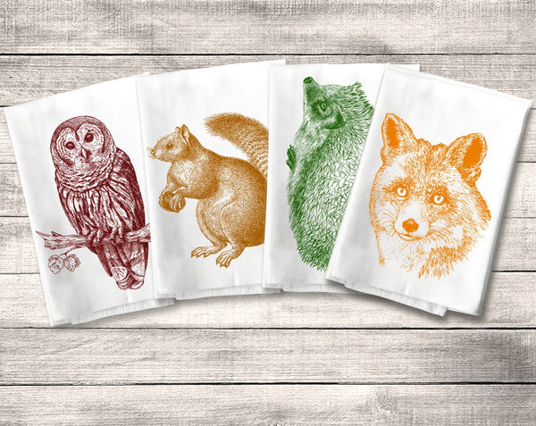 Woodland Critter Forest Animal Towel Flour Sack Towel Kitchen Towel Set, Owl Fox Squirrel Hedgehog, Dish Tea Rustic Decor Housewarming Gift