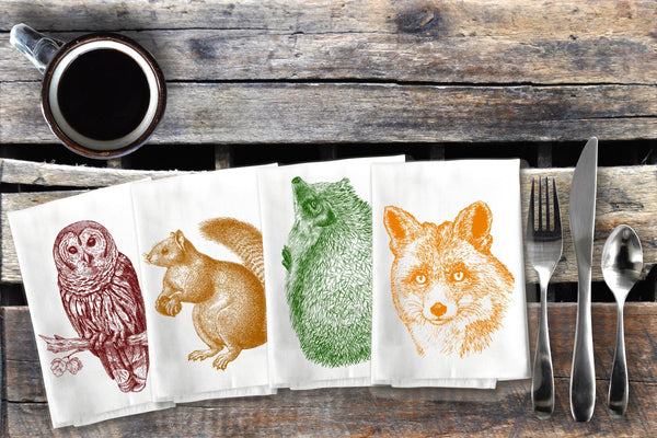 Woodland Animal Napkins Forest Critter Cloth Napkin Set, Owl Fox Hedgehog Squirrel Cotton Table Napkin Table Rustic Decor Housewarming Gift