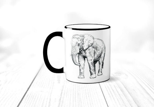 Elephant Coffee Mug, African Elephant Mug, Safari Animal Coffee Cup, Sublimated 11 oz Colored Handle & Rim