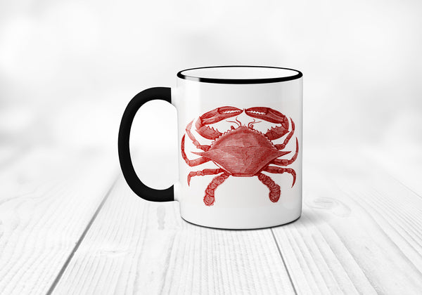 Crab Coffee Mug, Nautical, Ocean, Vintage Animal Illustration Coffee Cup, Crab Mug, Sublimated 11 oz, Colored Handle & Rim