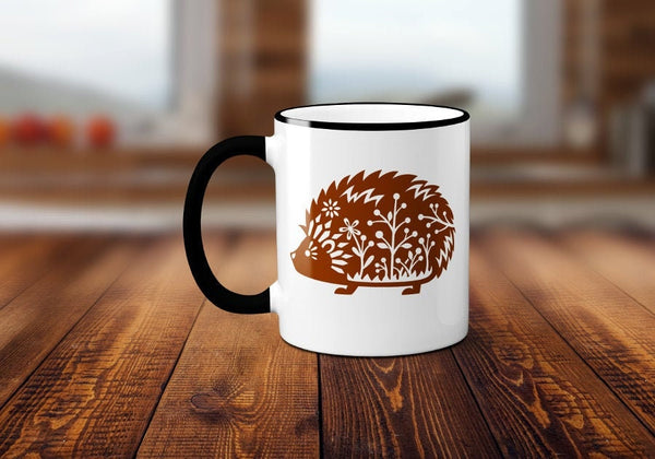Whimsical Hedgehog Coffee Mug, Funny Coffee Mug, Cute Hedgehog Coffee Cup, Hedgehog Mug, Sublimated 11 oz, Colored Handle & Rim