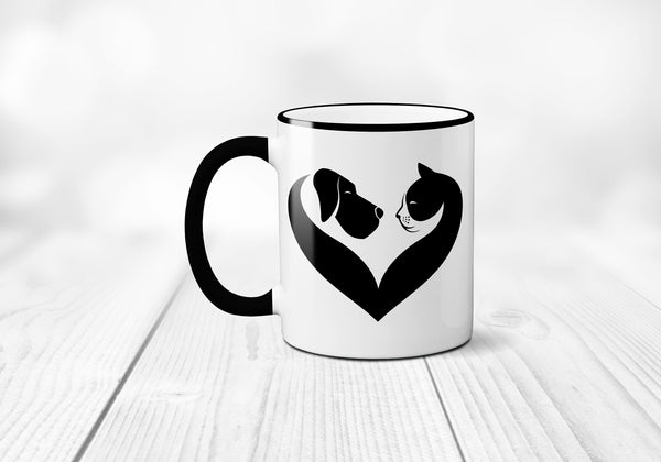 Veterinarian Coffee Mug, Cat and Dog Heart, Cat Mug, Dog Coffee Cup, Vet Gift, Sublimated 11 oz, Colored Handle & Rim