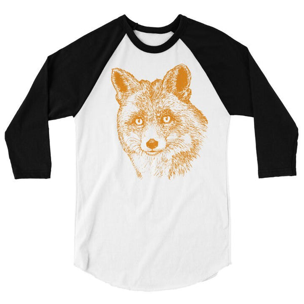 Fox T Shirt, Baseball Tee, Wild Forest Animal Tshirt, Woodland Critter, 3/4 Sleeve Raglan, Adult, Kids, Baby One Piece