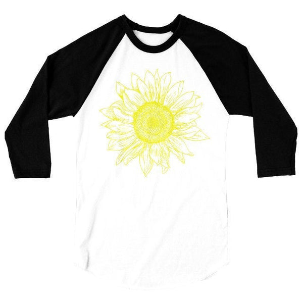 Sunflower T Shirt, Baseball Tee, Floral Summer Tshirt, Gardener Gift, 3/4 Sleeve Raglan, Adult, Kids, Baby One Piece
