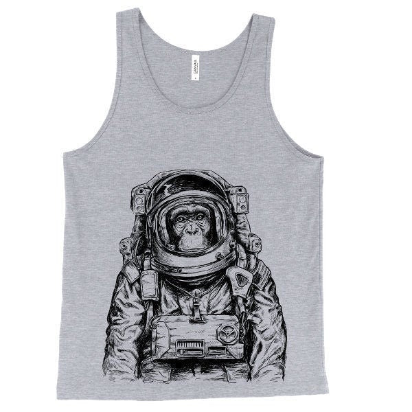 Astronaut Monkey Tank Top, Funny Animal, Spaceman Tank, Space Chimpanzee, Printed On Bella Canvas, Mens, Unisex