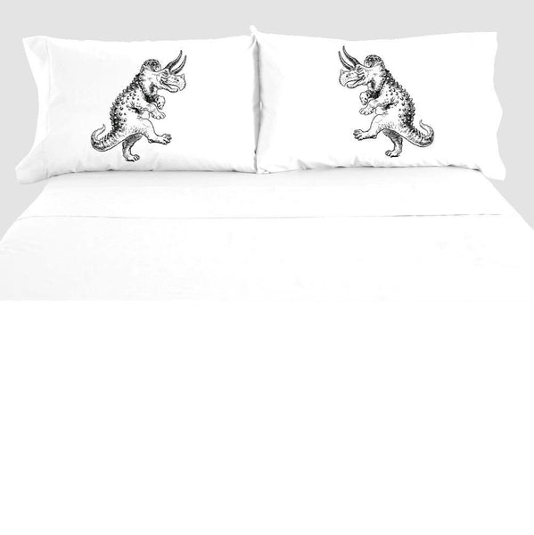 Dancing Dinosaur Pillowcase Set, Funny Triceratops Pillow Case, 100% Cotton, Bedding, Dinosaur Decor Bedroom