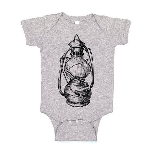 Oil Lamp One Piece, Tshirt, Baby Bodysuit, Vintage Glass Kerosene Lantern T Shirt, Camping Tee, Gift for Camper, Kids