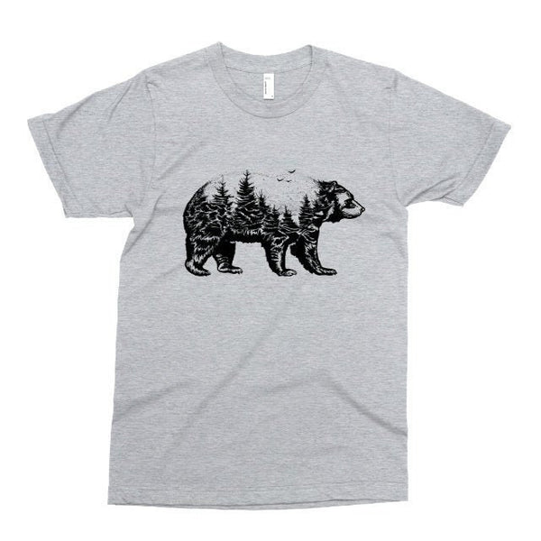 Bear Forest Tshirt, Printed on Soft Ringspun Cotton, Wildlife Animal T Shirt, Outdoorsy Camping Tee, Mens Womens Kids Baby