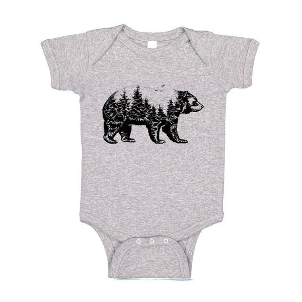 Bear Forest One Piece or Tshirt Baby Bodysuit, Wildlife Animal Silhouette Camping T Shirt, Outdoors Tee, Kids