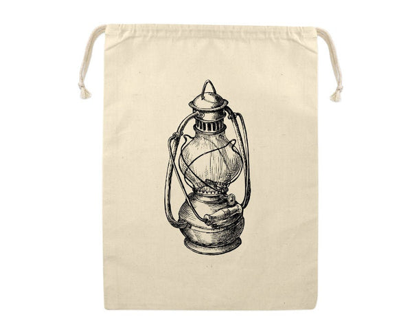 Gift Bag, Oil Lamp Reusable Produce Bag, Grocery Sack, Kerosene Lantern, Camping, Farmers Market, Eco Friendly, Cotton, Large Sized
