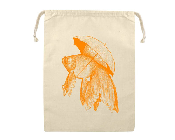Gift Bag, Goldfish Holding Umbrella Reusable Produce Bag, Grocery Sack, Funny Ocean Animal, Farmers Market, Eco Friendly Cotton, Large Sized