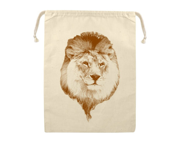 Gift Bag, Lion Reusable Produce Bag, Grocery Sack, African Safari Animal, Zoo, Farmers Market, Eco Friendly, Cotton, Large Sized