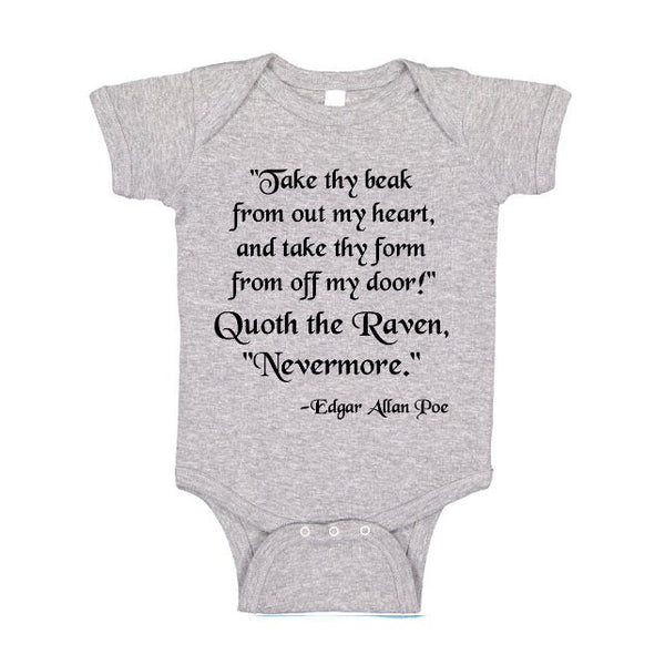 The Raven One Piece, Edgar Allan Poe T Shirt, Baby Bodysuit, Nevermore Tshirt, Horror Poem Tee, Kids
