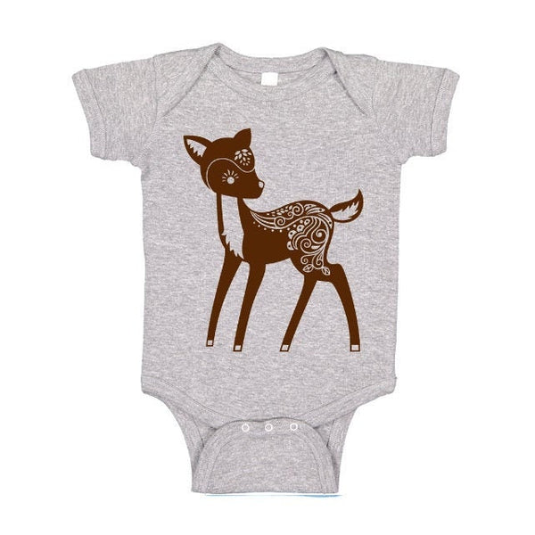 Whimsical Deer One Piece or Tshirt, Fawn Doe, Baby Bodysuit, Forest Animal T Shirt Woodland Critter Tee, Kids
