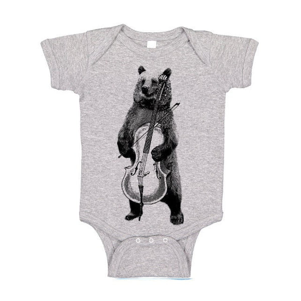 Funny Bear One Piece, Baby Bodysuit, Musical Tee, Bear Playing Cello T Shirt, Animal Tshirt, Kids Infant