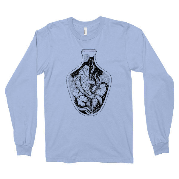 Long Sleeve Shirt, Bottled Koi Fish Tshirt, Japanese Pond T Shirt, Printed on Soft Ringspun Cotton Tees