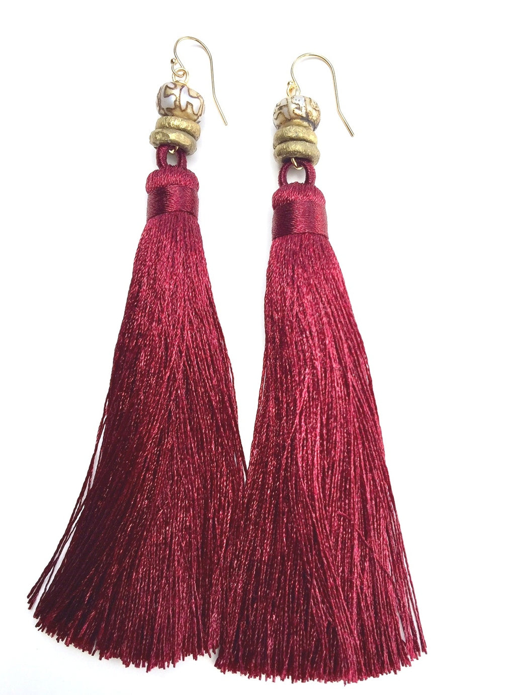 Bordeaux Tassel Earrings