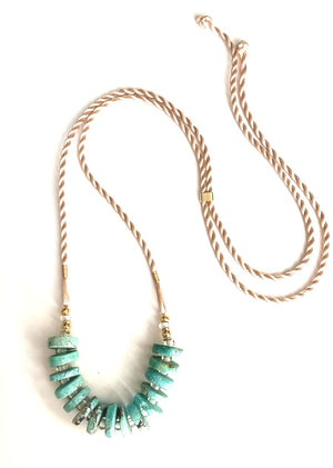Turquoise Heishi Rope Necklace