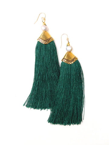 Elle (Malachite is the new black) Tassel Earrings