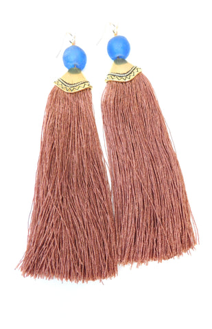 Elle (Mocha) Tassel Earrings