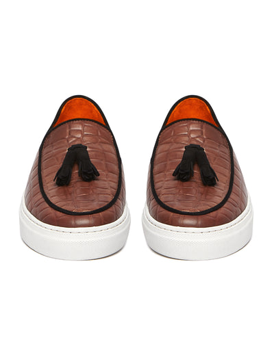 Cognac Hefner Crocodile Loafer