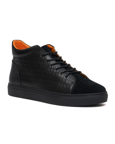 Black Croc Nu Money Mid Top Sneaker