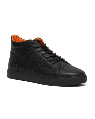 Black Embossed Monogram Mid Top Sneaker