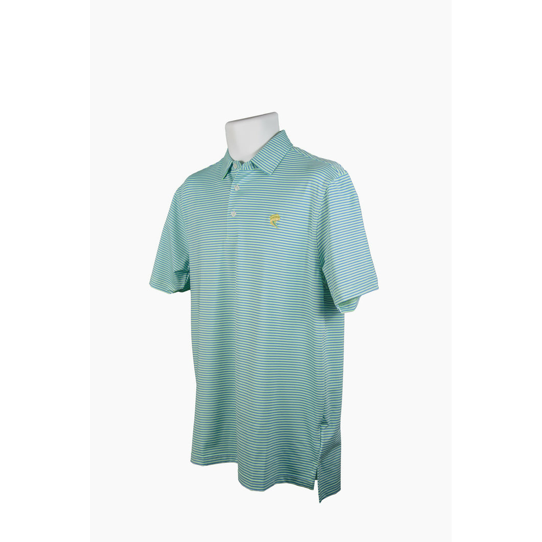 Sea Blue/Green/White Striped Polo