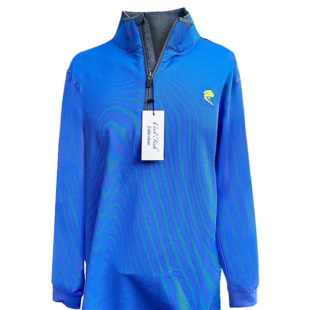 1/4 Zip Royal Blue/Striped Pullover