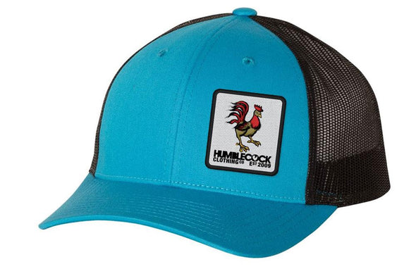 """Poppy Cock"" Trucker Hat Cyan/black"