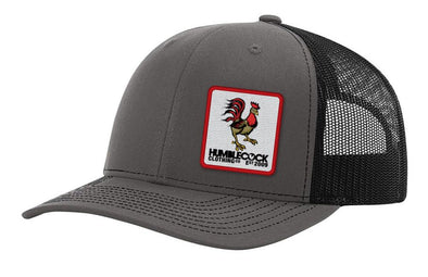 """Poppy Cock"" Trucker Hat (Dark Charcoal/ black) Red Patch"