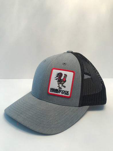 """Poppy Cock"" Trucker Hat (Light Grey / Black) Red Patch"